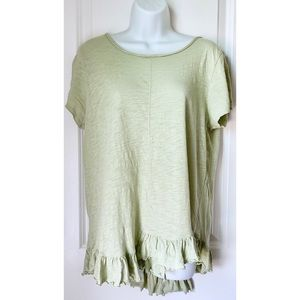 Sundance Green Asymmetrical Hem Short Sleeve Top